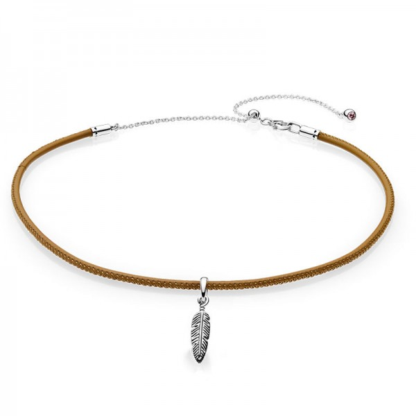 PANDORA Braun Leather Choker and Feather Halsband 397197CGT-38