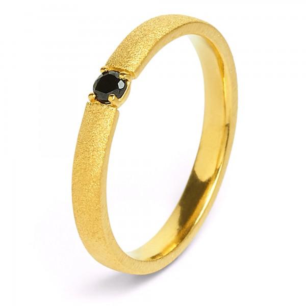 Estrella Designlinie Brilliana Ring mit elegantem schwarzen Spinell und 24 Karat 52401496
