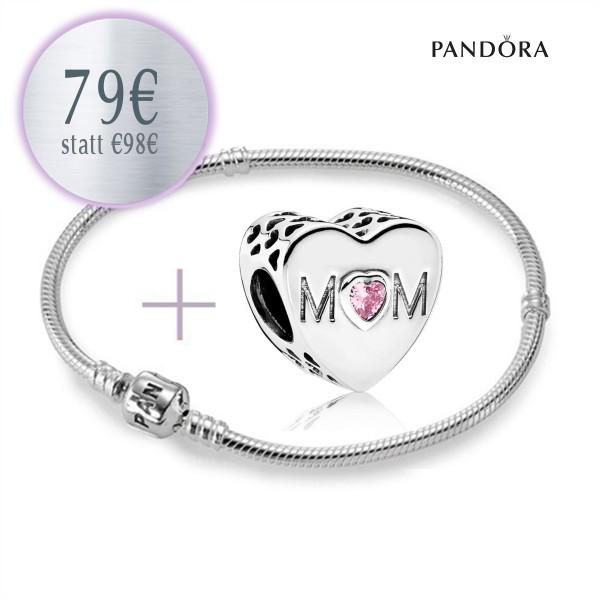 PANDORA Starterset - Armband und Mama Charm 791881PCZ aus 925er Sterlingsilber