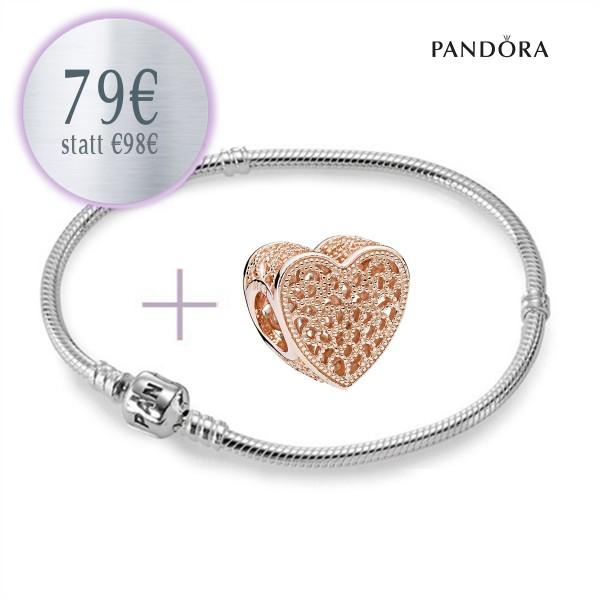 PANDORA Starterset - Armband und Ewige Liebe ROSE Herz Charm aus 925er Sterlingsilber