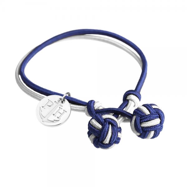 PAUL HEWITT Silber Knotenarmband Marineblau-Weiss PH-KB-NW-S-S