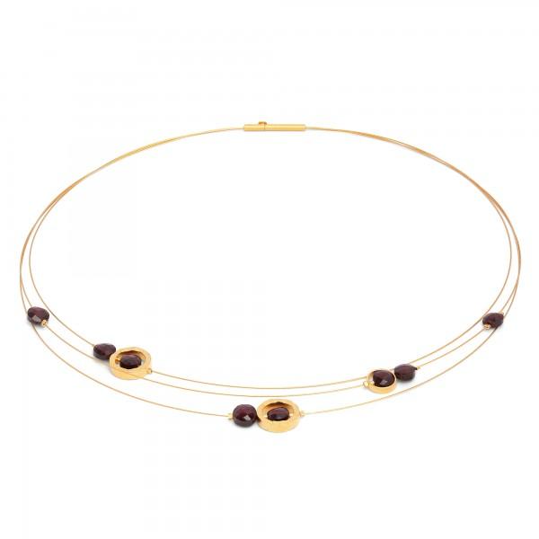Impuls Designlinie Facetten Collier mit Granat und 24 Karat Goldplattierung 85073776