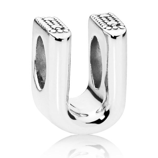 PANDORA Buchstabe Letter U silver charm 797475