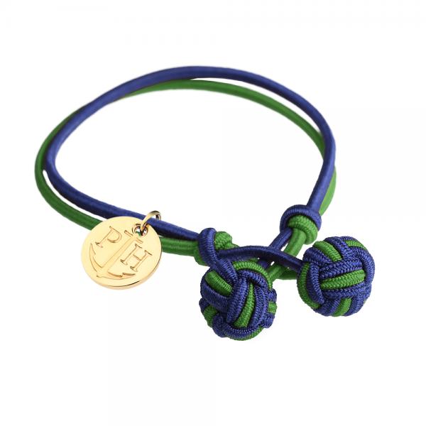 PAUL HEWITT Gold Knotenarmband Marineblau-Grün PH-KB-NG-S-G
