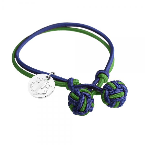 PAUL HEWITT Silber Knotenarmband Marineblau-Grün PH-KB-NG-S-S