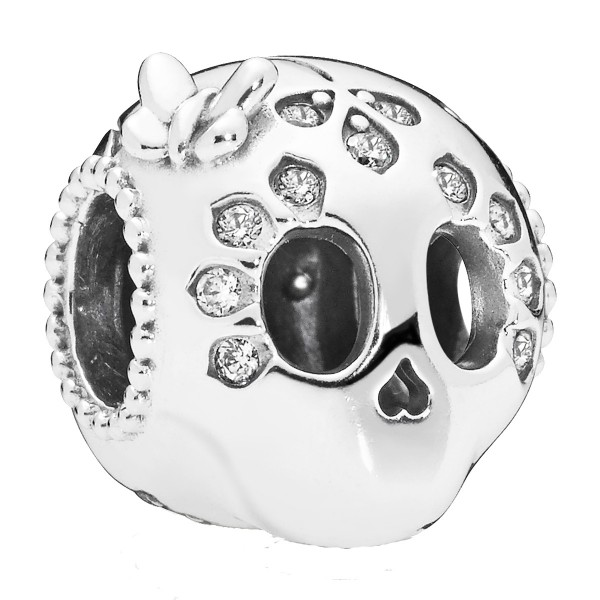 Skull Totenkopf silver PANDORA charm with clear cubic zirconia 797866CZ