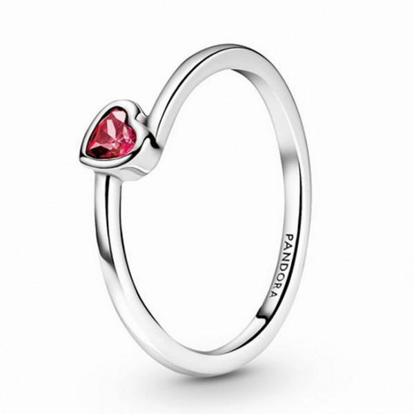 Rotes geneigtes Herz PANDORA Solitär-Ring 199267C01-50