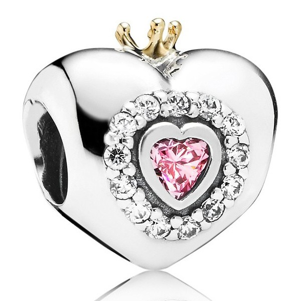 PANDORA Charm Rosafarbenes Prinzessinnenherz 791375PCZ