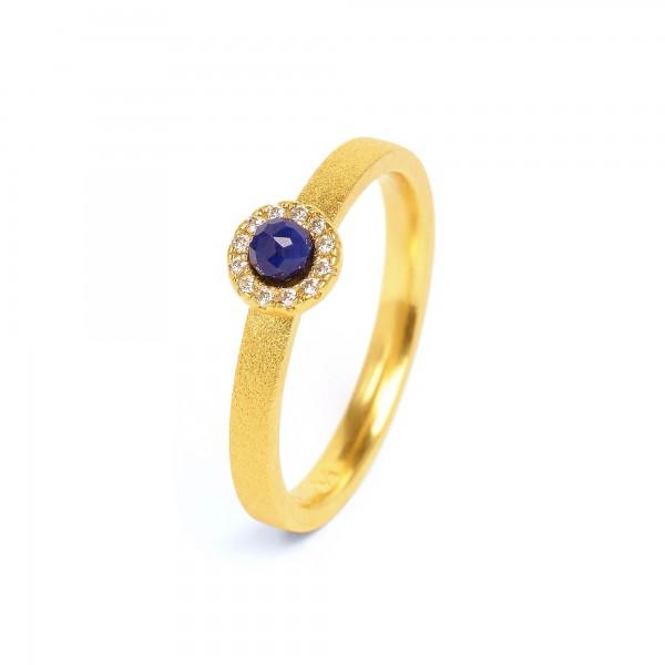 52217236 Tissy Designlinie Sparkling Frame Ring mit elegant leuchtendem Lapislazuli und 24 Karat G