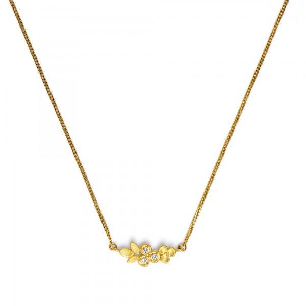 87660156 Liandi Designlinie Flowertimes Collier mit funkelndem Zirkonia und 24 Karat Goldplattieru