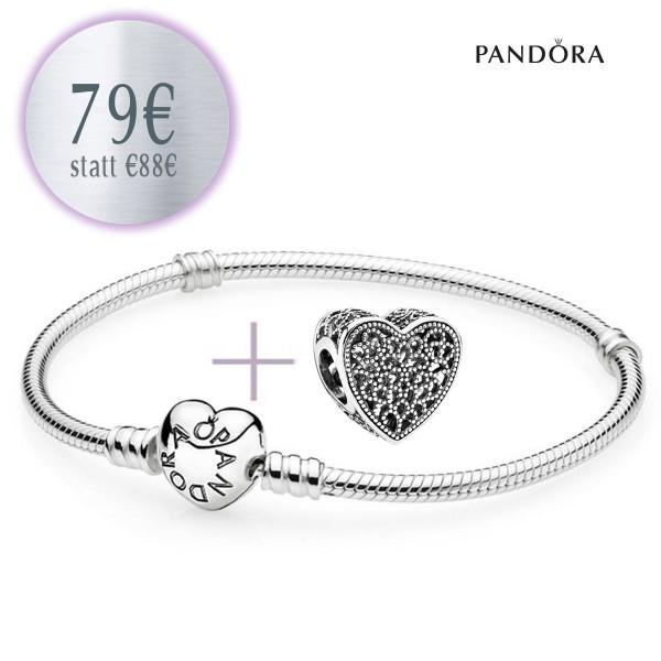 PANDORA Starterset - Armband mit Herzverschluß und Ewige Liebe Herz Charm 791811
