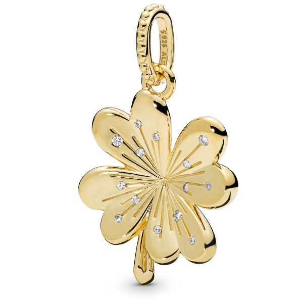 Lucky Four-Leaf Clover Kleeblatt PANDORA SHINE Halskettenanhänger 367935CZ