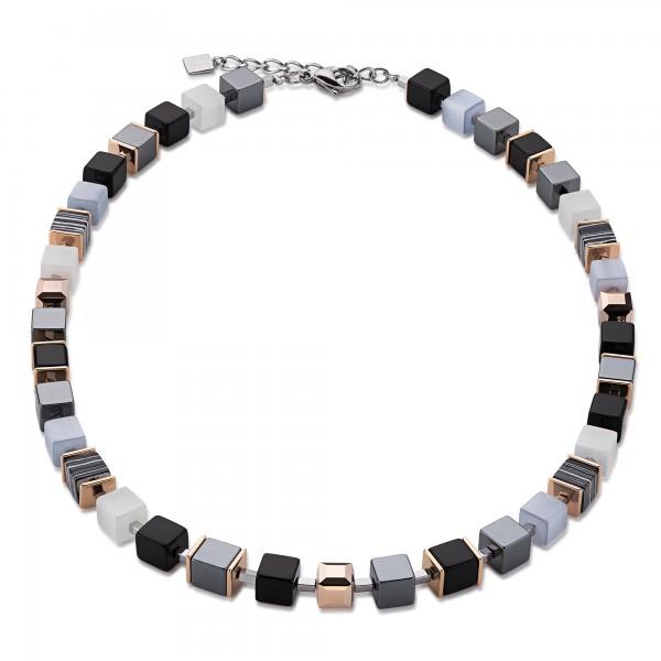 Collier Geo Cube schwarz-weiß & Swarovski® Kristalle roségold 4848101314