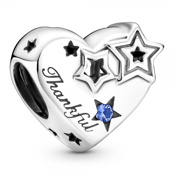 Dankbar Herz und Sterne PANDORA Charm 799527C01