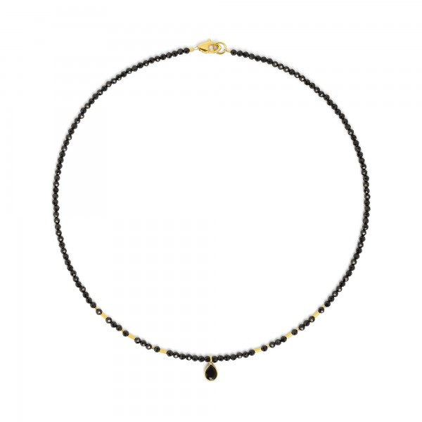 83905496 Sequena Designlinie Aqua Halskette mit elegantem schwarzen Spinell und 24 Karat Goldplatt