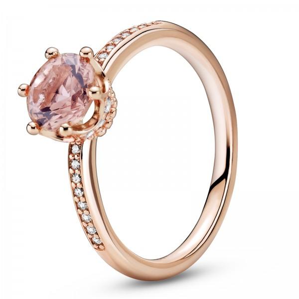 Rosafarbene funkelnde Krone Solitär PANDORA Ring 188289C01