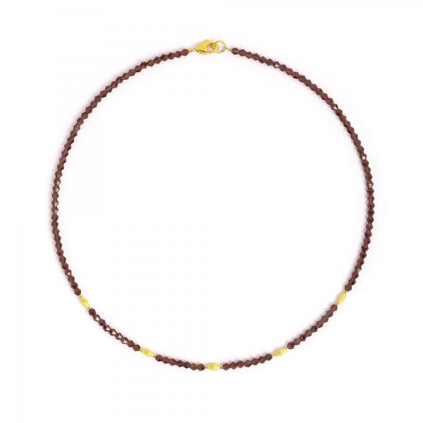 84475776 Dola Designlinie Cleopatra Halskette mit Granat und 24 Karat Goldplattierung