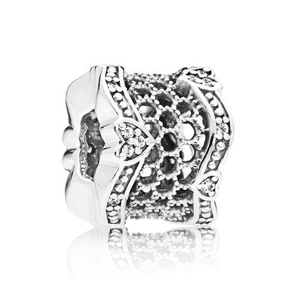 PANDORA Clip Lace silver with clear cubic zirconia 797653CZ