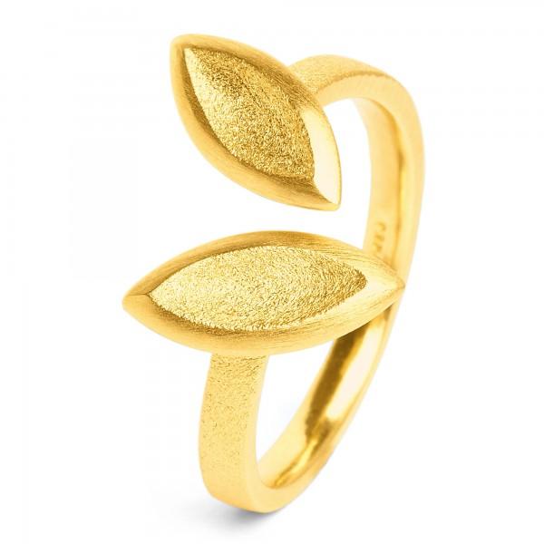 Navensi Designlinie Navette Ring mit 925er Sterlingsilber und 24 Karat Goldplattierung 52702506