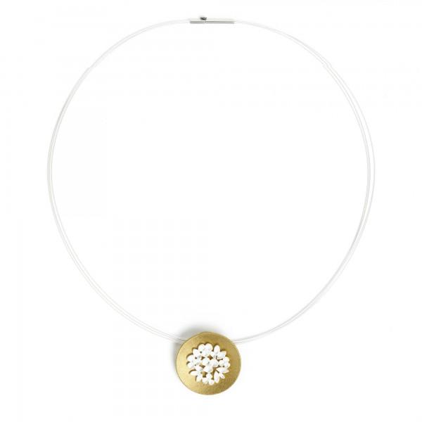 85439584 Fleuras Designlinie Flowertimes Collier in Bicolor - 925er Sterling Silber und 24 Karat G