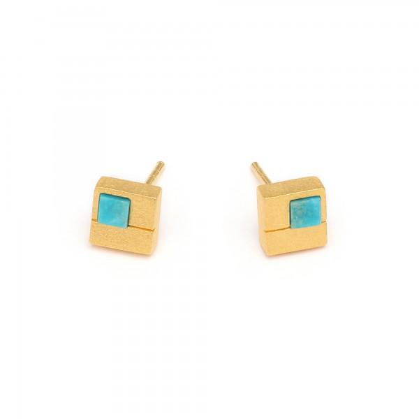 Cubio Designlinie Cubes Ohrstecker blau leuchtendem Türkis 24 Karat Goldplattierung 19242256