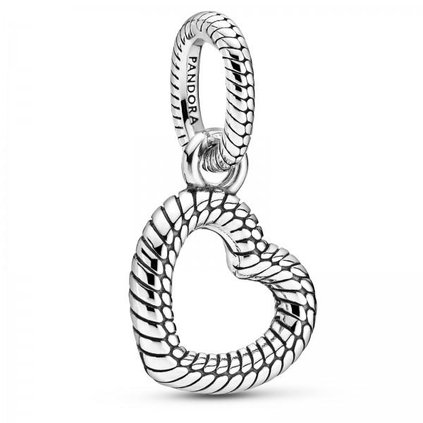 Schlangengliedermuster offenes Herz PANDORA Halsketten-Anhänger 399094C00