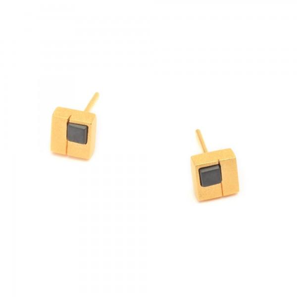 19242276 Cubio Designlinie Cubes Ohrstecker mit edlem Hämatin und 24 Karat Goldplattierung