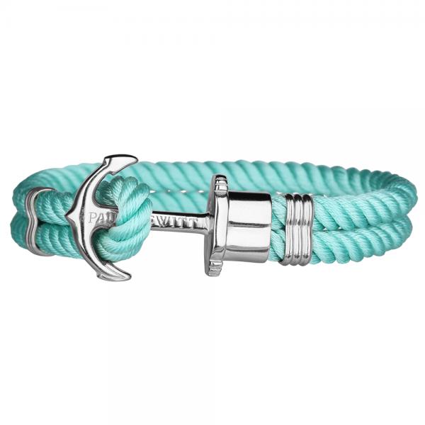 PAUL HEWITT PHREP Silber Anker Nylon Armband Turquoise Sea PH-PH-N-S-Ts-S
