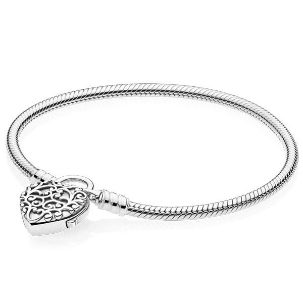 PANDORA Armband Snake chain silver bracelet and regal pattern heart padlock clasp 597602-16