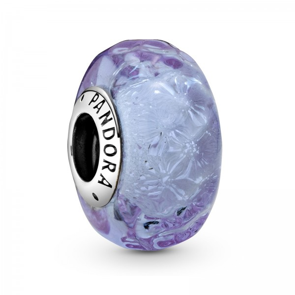 Wellenförmiges Lavendelblaues Murano-Glas Charm 798875C00