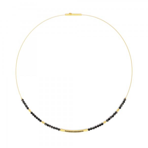 84101496 Senbo Designlinie Sentro Collier mit elegantem schwarzen Spinell und 24 Karat Goldplattie