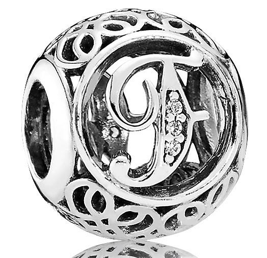 PANDORA Charms Vintage F in 925er Silber 791850CZ