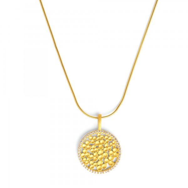87686156 Leilesa Designlinie Flowertimes mit funkelndem Zirkonia und 24 Karat Goldplattierung