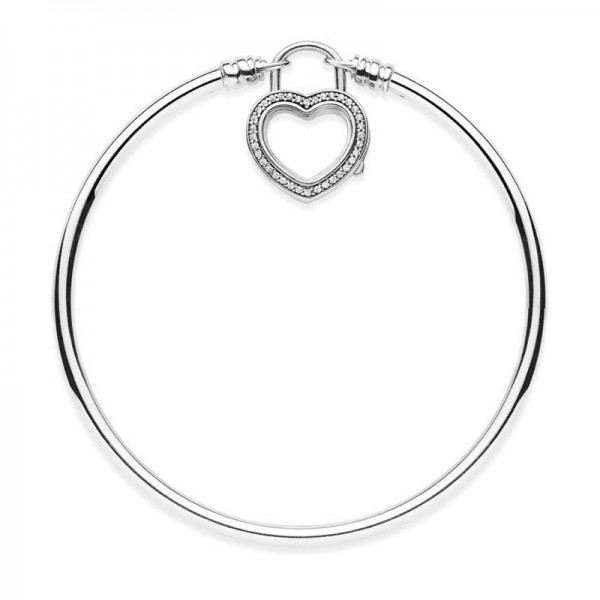 PANDORA Armband Moments Silver Bangle,Sparkling Floating Heart Locket 597253CZ-17