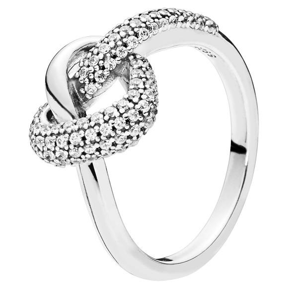 Knotted heart PANDORA Ring Verknotete Herzen 198086CZ-48