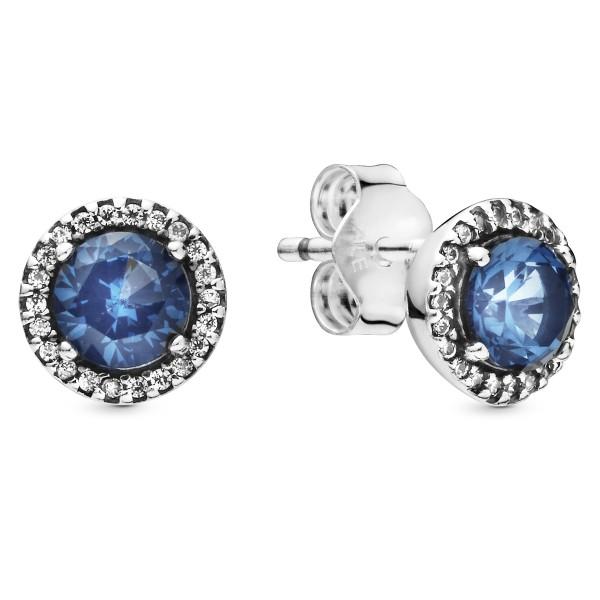 Blue Round Sparkle PANDORA Ohringe 925er Sterlingsilber 296272C01