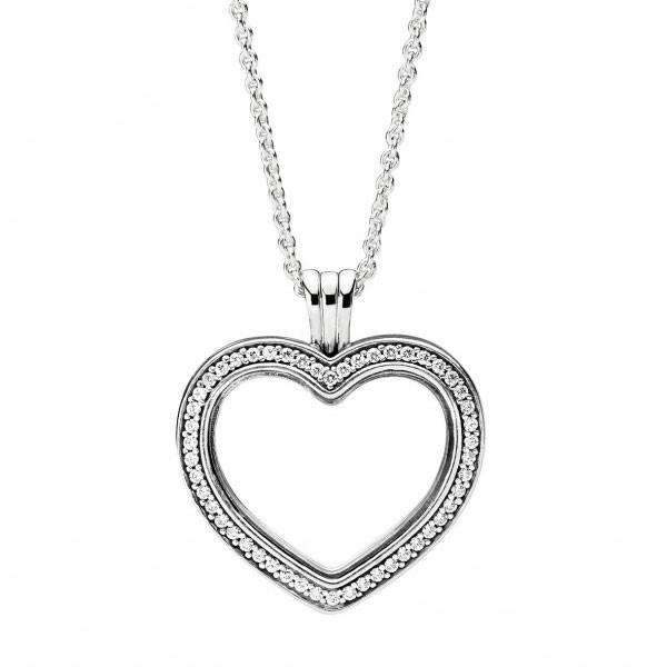 PANDORA Halskette mit Medaillon Sparkling PANDORA Floating Heart Locket 397230CZ-60