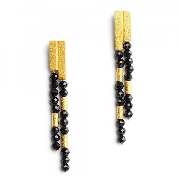 15770496 Yaneki Designlinie Cleopatra Ohrhänger mit elegantem schwarzen Spinell und 24 Karat Goldp