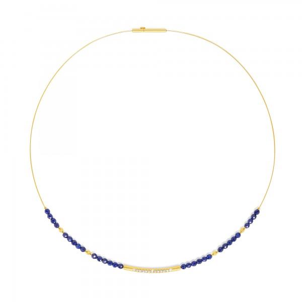 84101236 Senbo Designlinie Sentro Collier mit elegant leuchtendem Lapislazuli und 24 Karat Goldpla