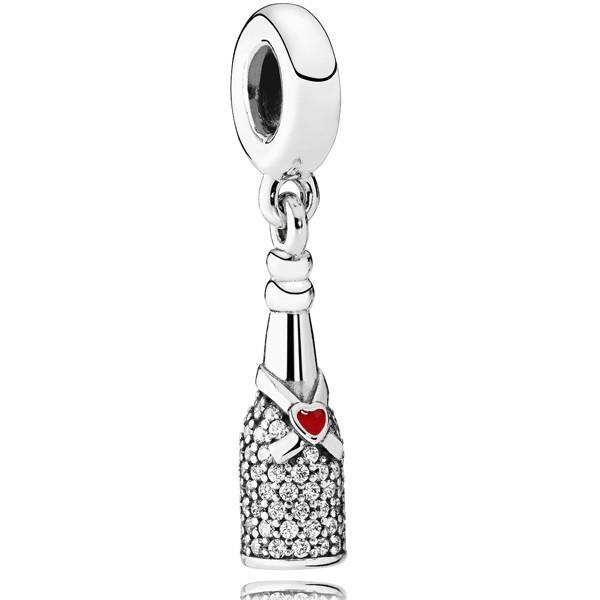 PANDORA Charm 792152CZ Herz Champagner