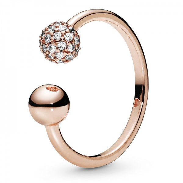 Polished Pavé Bead Open PANDORA ROSE Ring 188316CZ