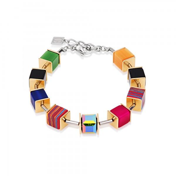 Geo Cube Armband Swarovski® Kristalle Malachit multicolor gold 4747301500