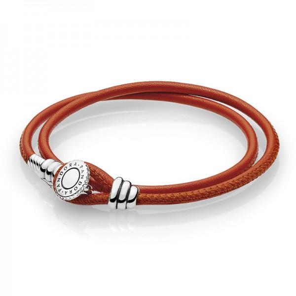 PANDORA Armband Moments Double Leather Bracelet Spicy Orange 597194CSO-D1
