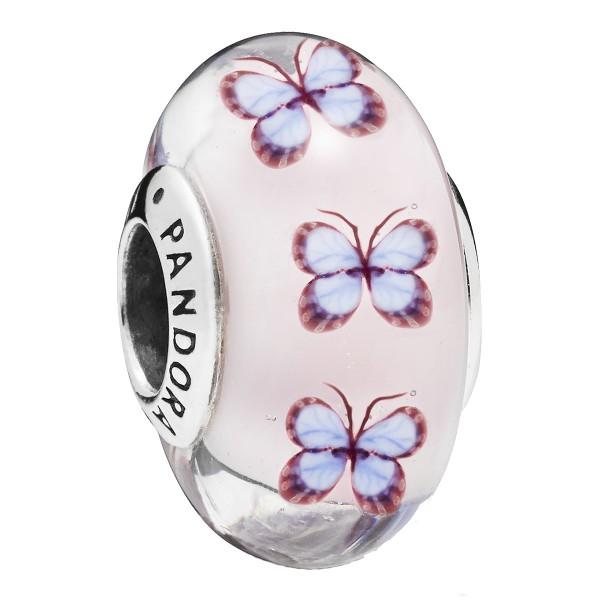 Butterfly Schmetterling pink purple Murano PANDORA Charm 797893