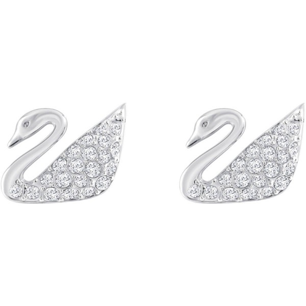 Swarovski Swan Ohrringe, Weiss, Rhodiniert 1116357