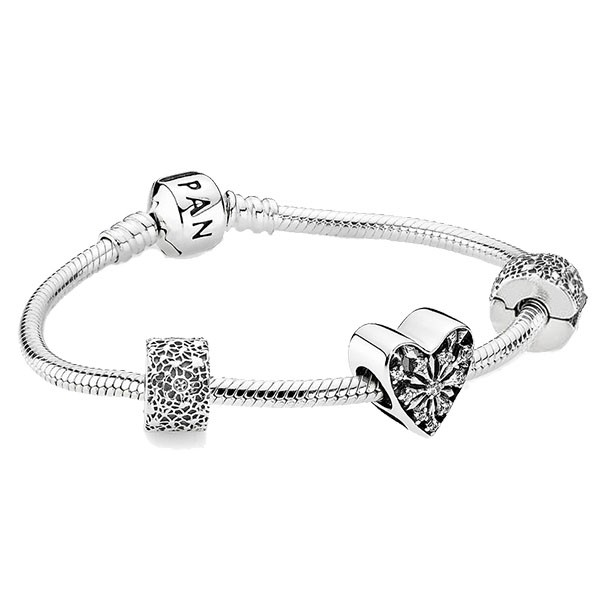 PANDORA Armband Charms Set Winter-Herz 791996CZ