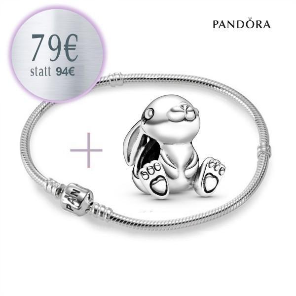 PANDORA Starterset - Armband mit Nini der Hase Charm 798763C00