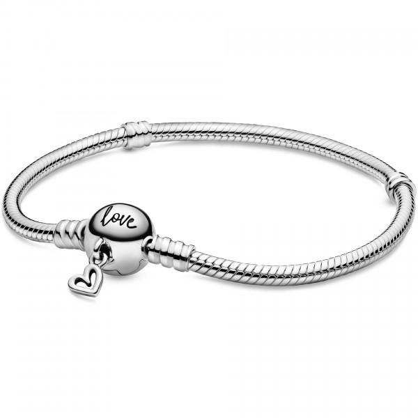 Pandora Moments Schlangen-Gliederarmband mit Freihand-Herz-Verschluss 598698C00