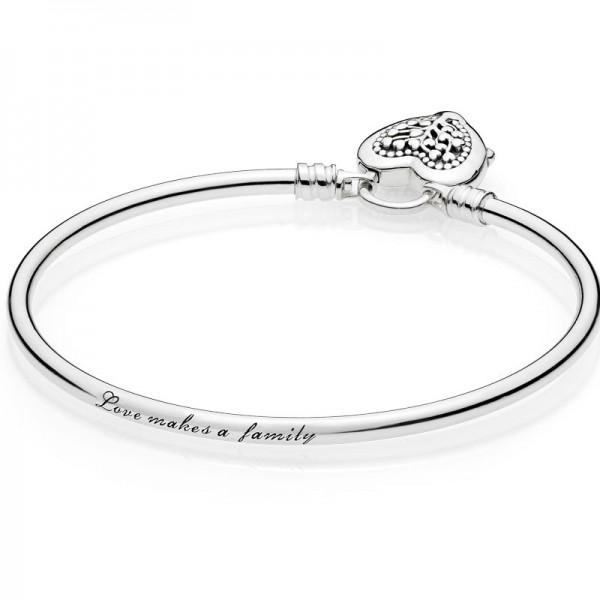 PANDORA Armband Moments Silver Bangle,Flourishing Hearts 597101-17