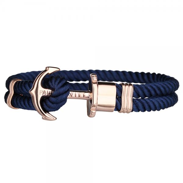 PAUL HEWITT PHREP Roségold Anker Nylon Armband Marineblau PH-PH-N-R-N-S